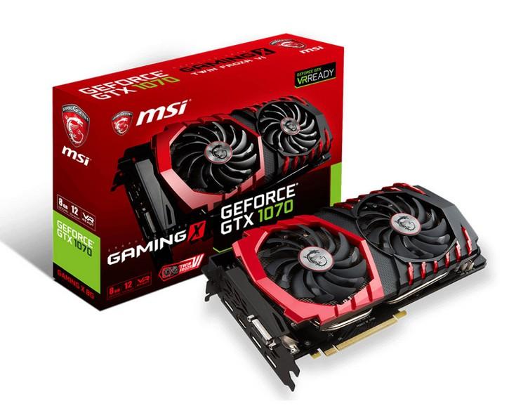Три из пяти моделей видеокарт MSI GeForce GTX 1070 работают на повышенных частотах