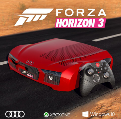 Microsoft показала Xbox One S в стиле Audi R8