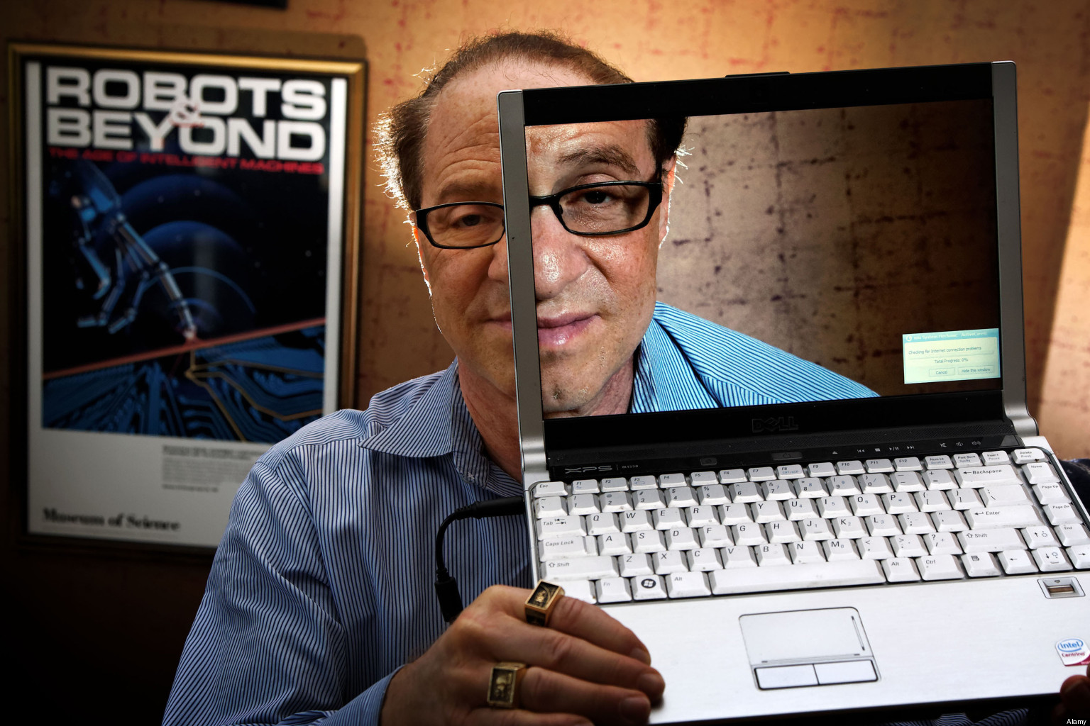 """Futurist, author, scientist and inventor Raymond """"Ray"""" Kurzweil in his Boston office.. Image shot 2011. Exact date unknown."""