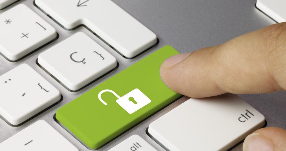 Open padlock Keyboard key. Finger