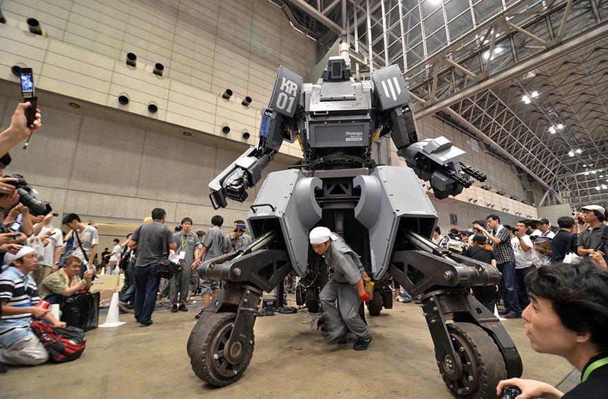 "A giant ""Kuratas"" robot is seen at an exhibition in Tokyo"